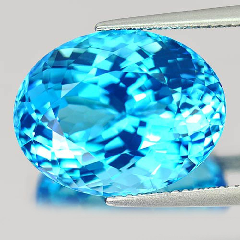 Natural Gem 19.61 Ct. Oval Shape Swiss Blue Topaz From Brazil