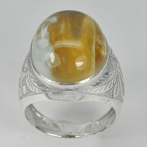 Unheated Good 8.76 G. Oval Cab Moss Quartz Real 925 Silver Jewelry Ring Size 9