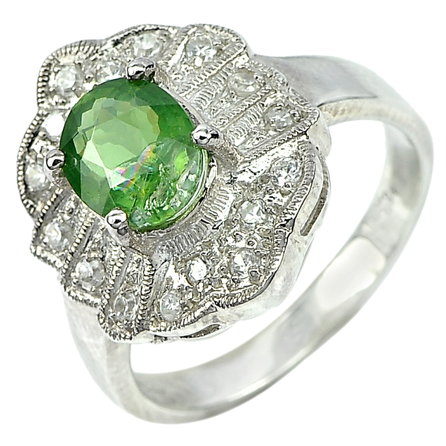 5.39 G. Gems Natural Apatite Real 925 Sterling Silver Jewelry Ring Size 7.5