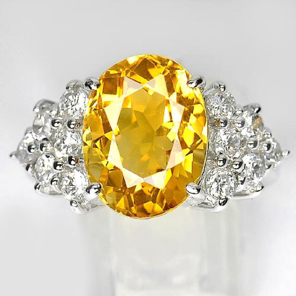 7.95 G. Beautiful Natural Yellow Citrine 925 Sterling Silver Ring Sz 7.5