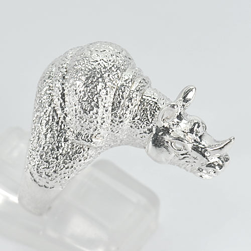 11.14 G. Beautiful Real 925 Sterling Silver Rhino Jewelry Ring Size 8