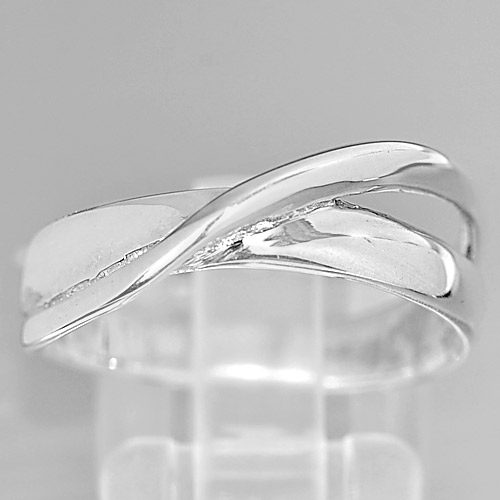 3.42 G. Alluring Natural 925 Sterling Silver Jewelry Ring Sz 8 Thailand