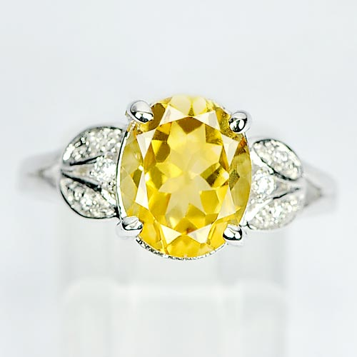 2.71 G. Beautiful Natural Yellow Citrine 925 Sterling Silver Ring Sz 7