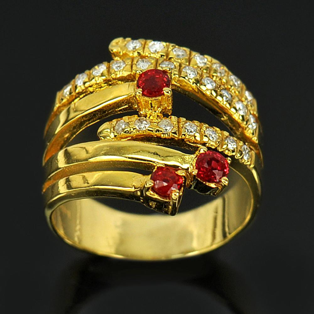 Natural Red Songea Sapphire & Diamond 14K Solid Gold Ring