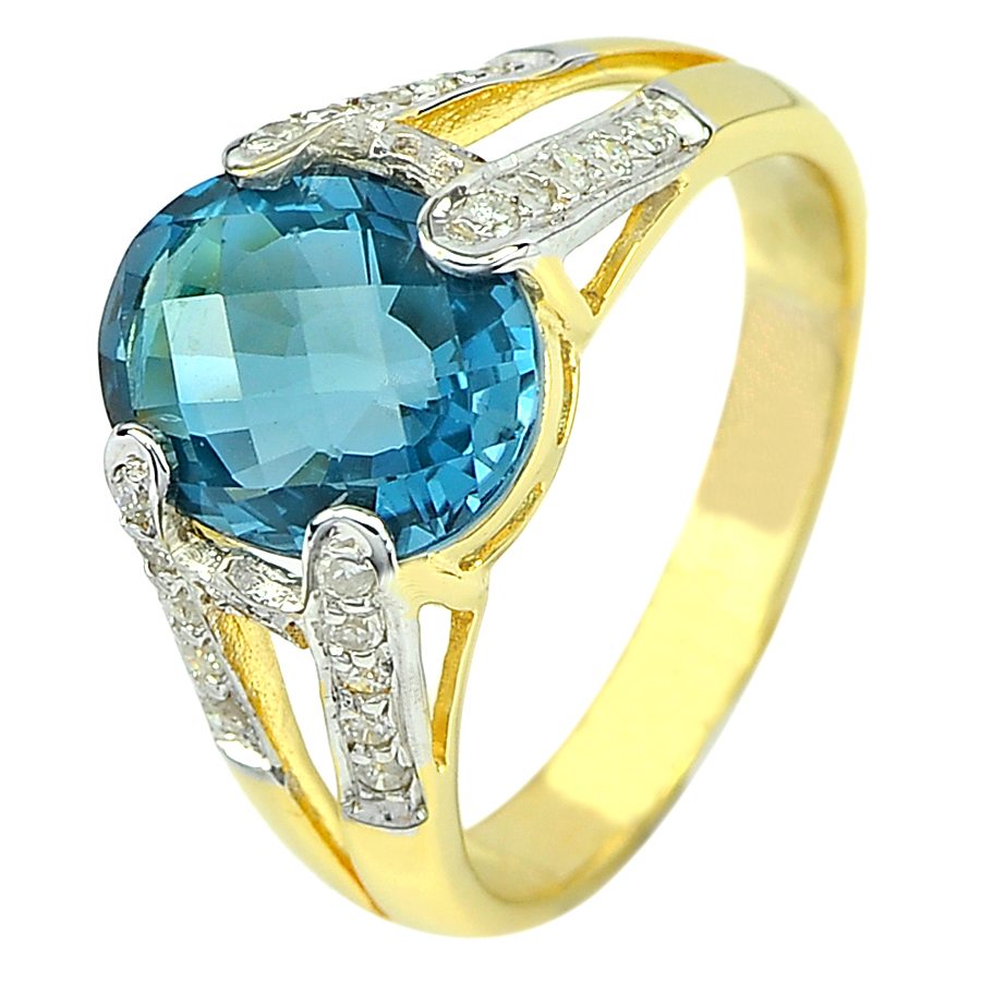 3.64 Ct. Natural London Blue Topaz Diamond 14K Solid Gold Ring Size6.5