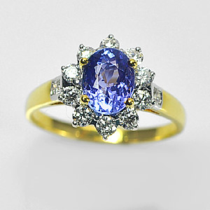 Beautiful Gemstone Natural Tanzanite with Diamond 18K Solid Gold Ring Size 5.5