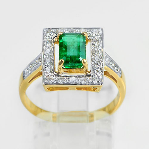 1.16 Ct. Natural Green Emerald with Diamond 18K Solid Gold Ring Size 7