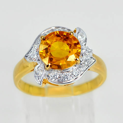 18K Solid Gold Ring 2.38 Ct. Yellow Sapphire With White Diamond