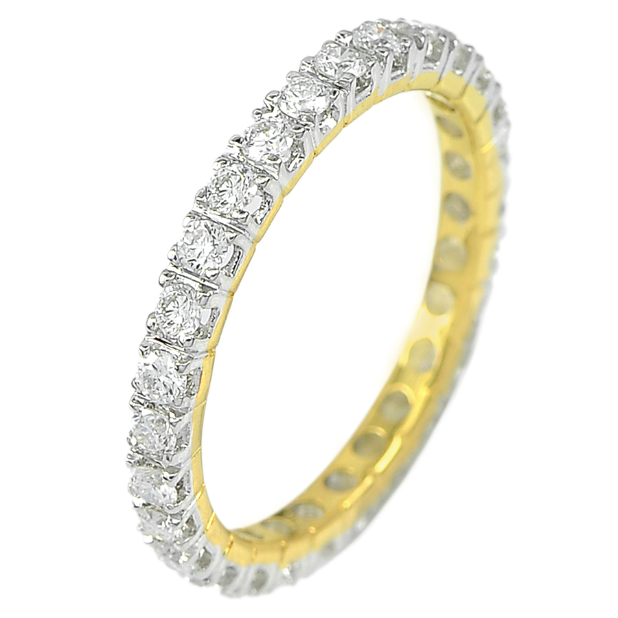 0.69 Ct. Round Brilliant Cut Natural White Diamond 18K Solid Gold Ring Size 6
