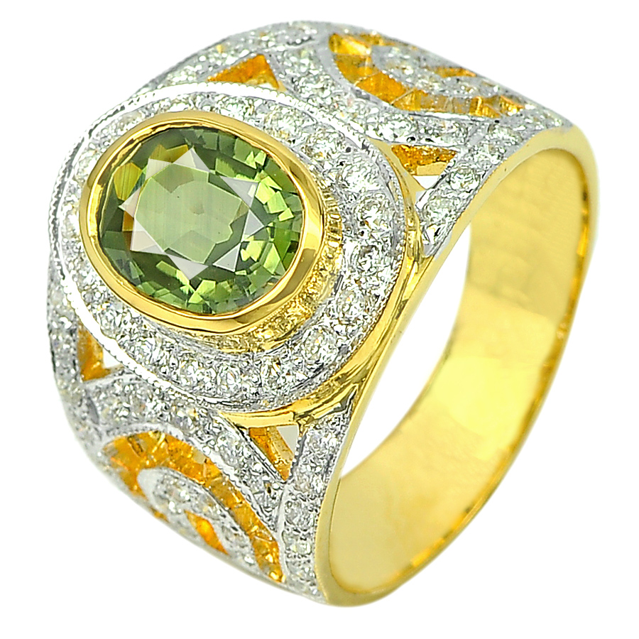 1.98 Ct. Natural Green Sapphire with White Diamond 18K Solid Gold Ring Size 7