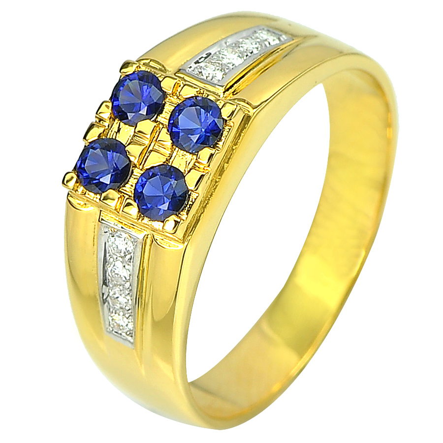 0.42 Ct. Natural Blue Sapphire with White Diamond 18K Solid Gold Ring Size 9