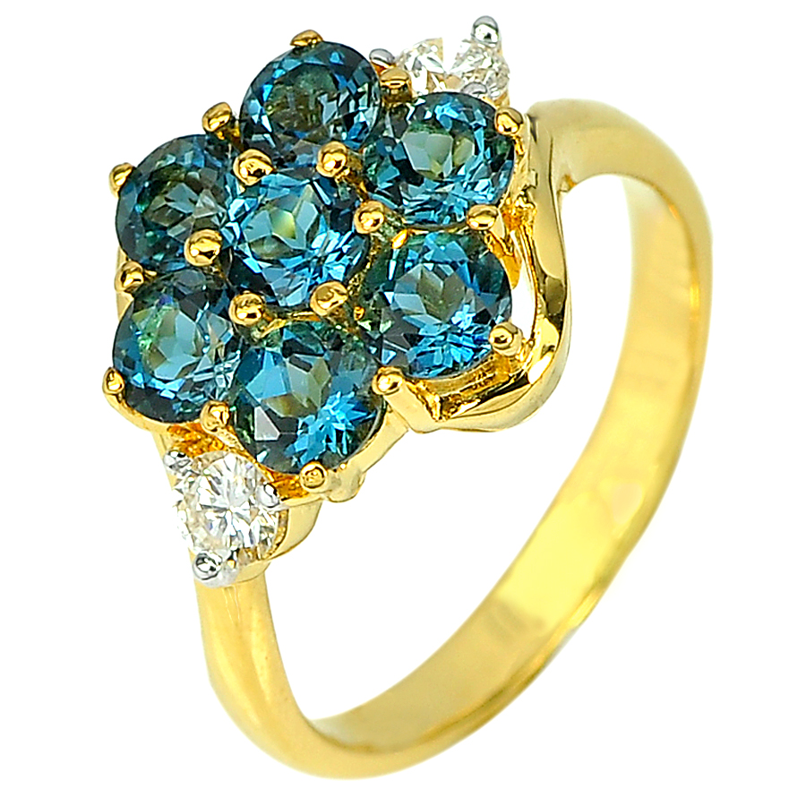 2.19 Ct. Natural London Blue Topaz with Diamond 18K Solid Gold Ring Size 6.5