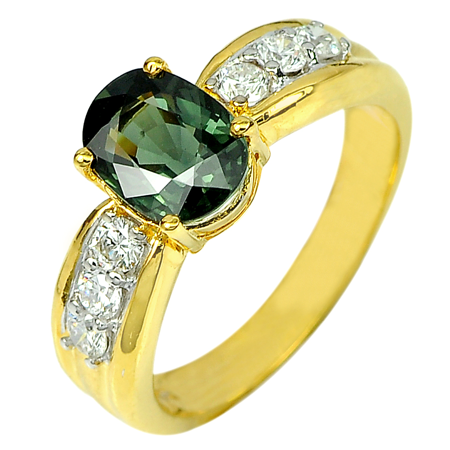1.96 Ct. Natural Green Sapphire with Diamond 18K Solid Gold Ring Size 7