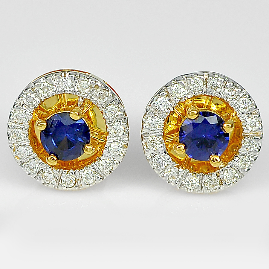 0.34 Ct. Round Natural Blue Sapphire with White Diamond 18K Solid Gold Earrings