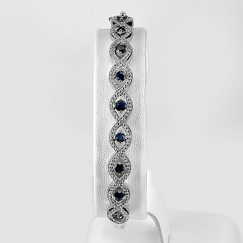 12.01 G. Natural Blue Sapphire Real 925 Silver Jewelry Bracelet Length 8 Inch.