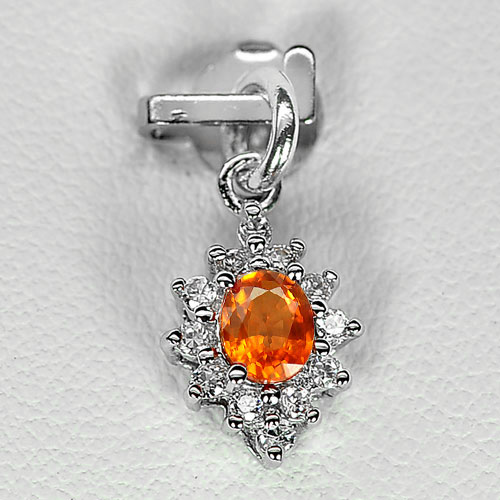 0.74 G. Natural Orange Songea Sapphire 925 Silver Jewelry Pendant