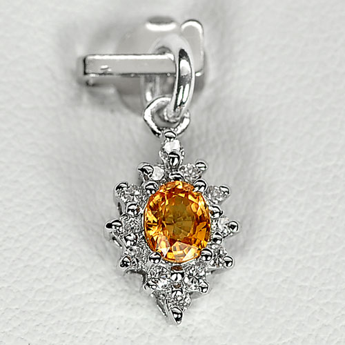 0.77 G. Natural Yellow Songea Sapphire Sterling Silver Pendant
