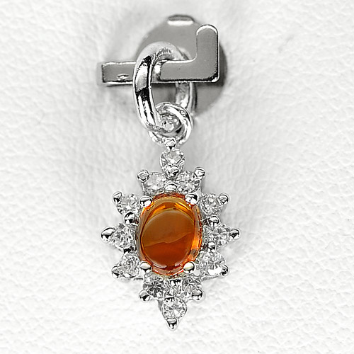 0.76 G. Natural Orange Songea Sapphire Sterling Silver Pendant