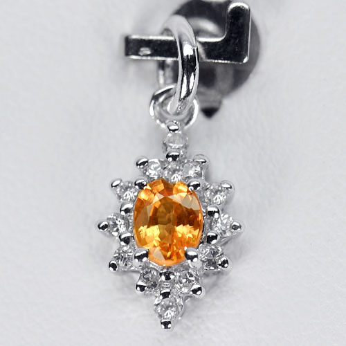 0.79 G. Natural Orange Songea Sapphire 925 Sterling Silver Pendant