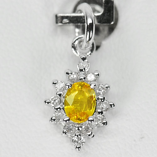 0.77 G. Natural Yellow Songea Sapphire 925 Sterling Silver Pendant
