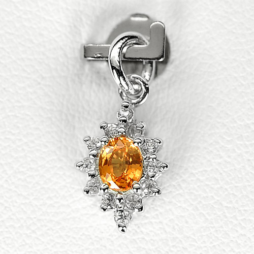 0.77 G. Natural Orange Songea Sapphire Sterling Silver Pendant