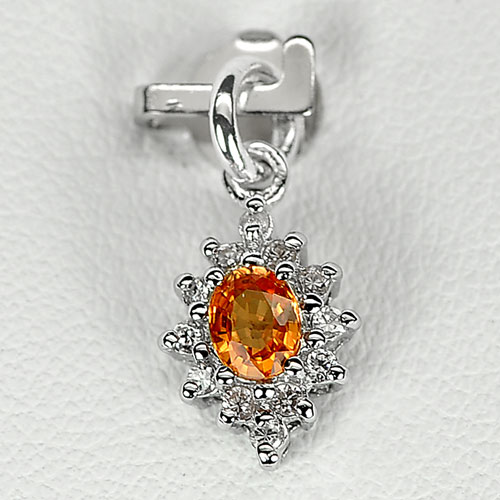0.78 G. Natural Orange Songea Sapphire Sterling Silver Pendant