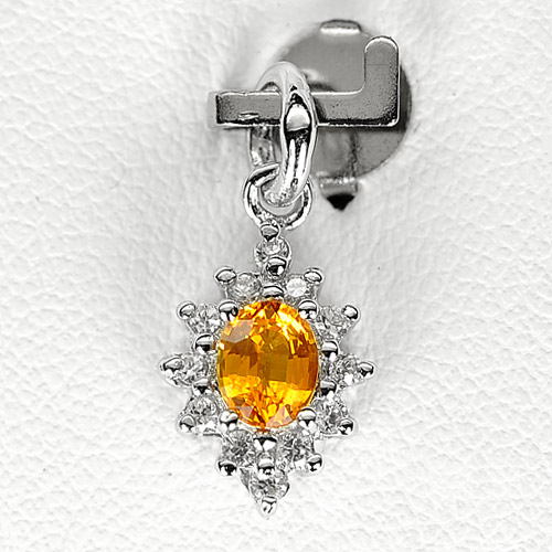 0.79 G. Natural Orange Songea Sapphire Sterling Silver Pendant
