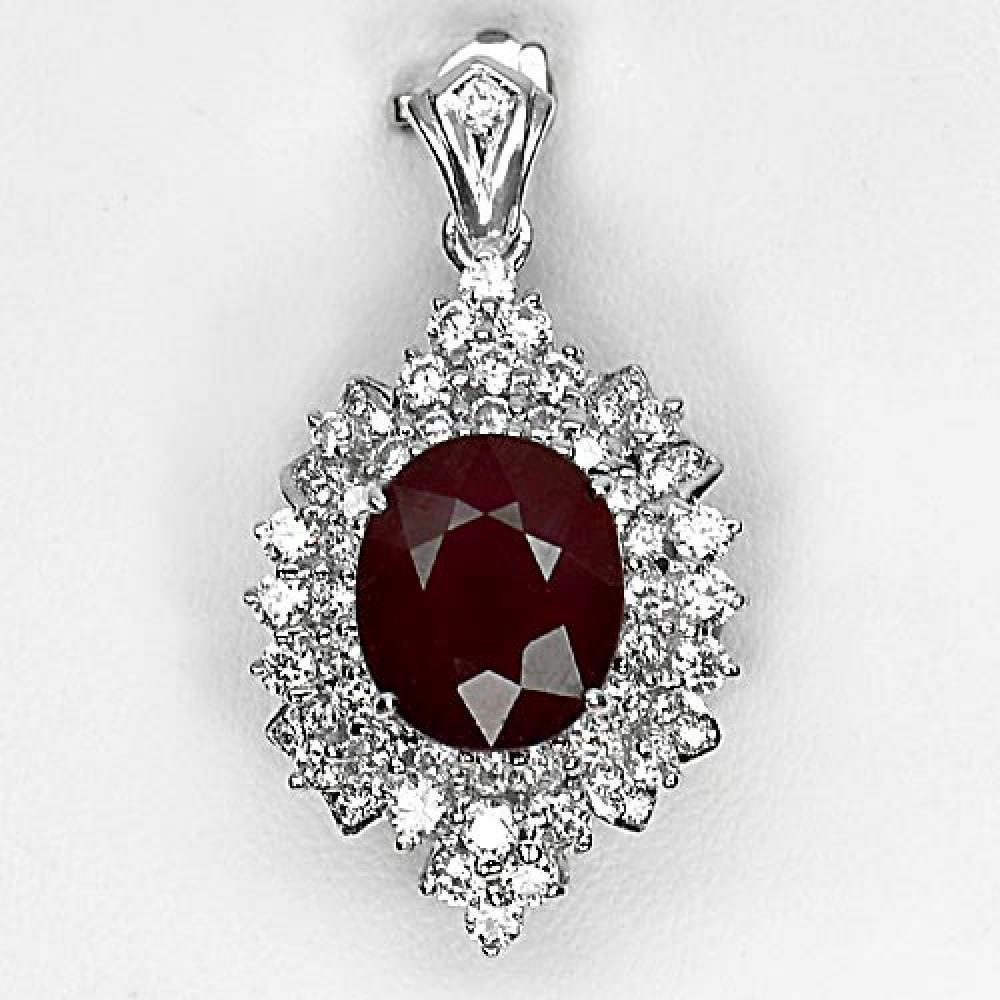 10.15 G. Natural Gemstone Red Ruby With 925 Sterling Silver Jewelry Pendant