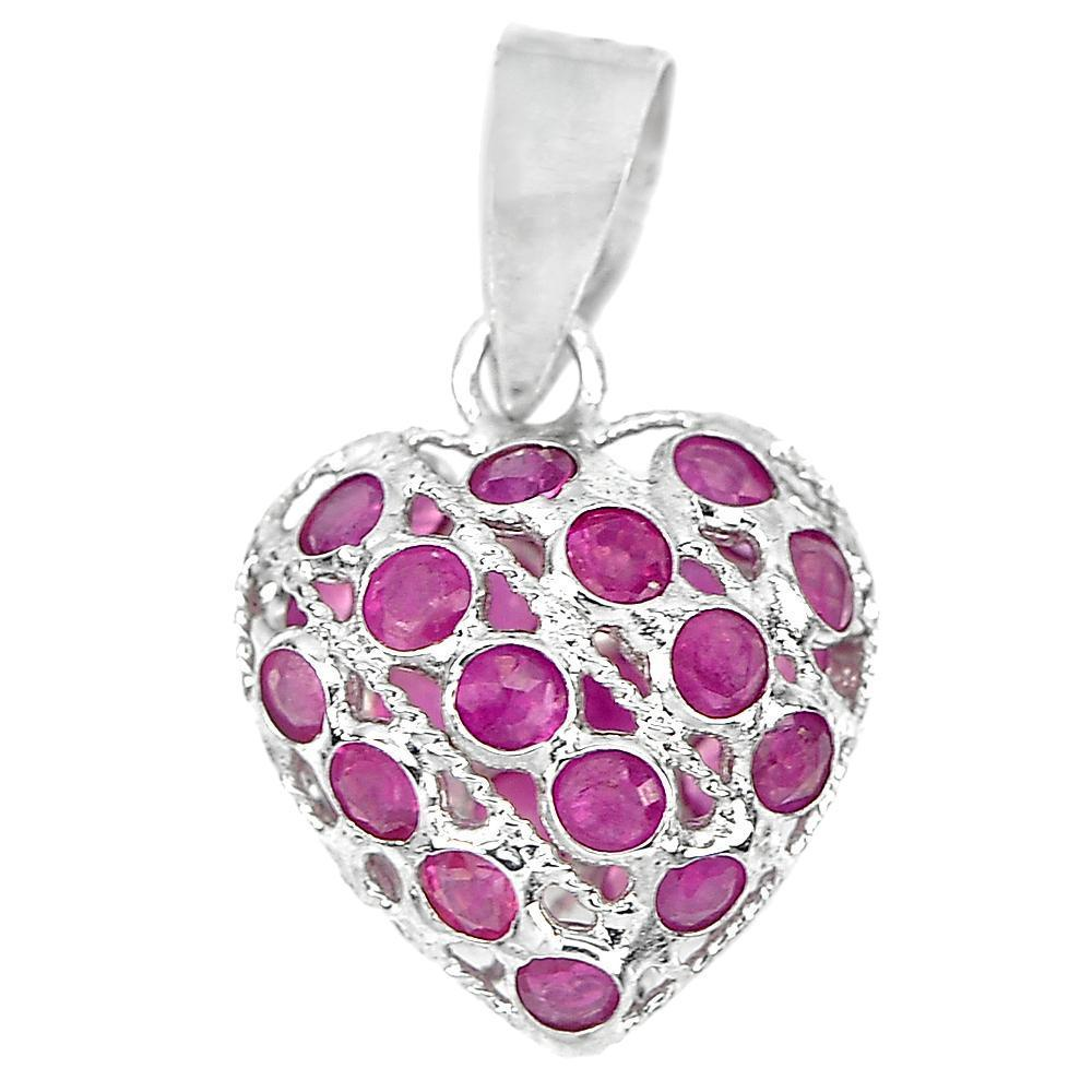 0.60 G. Good Natural Gemstone Red Ruby Real 925 Sterling Silver Jewelry Pendant