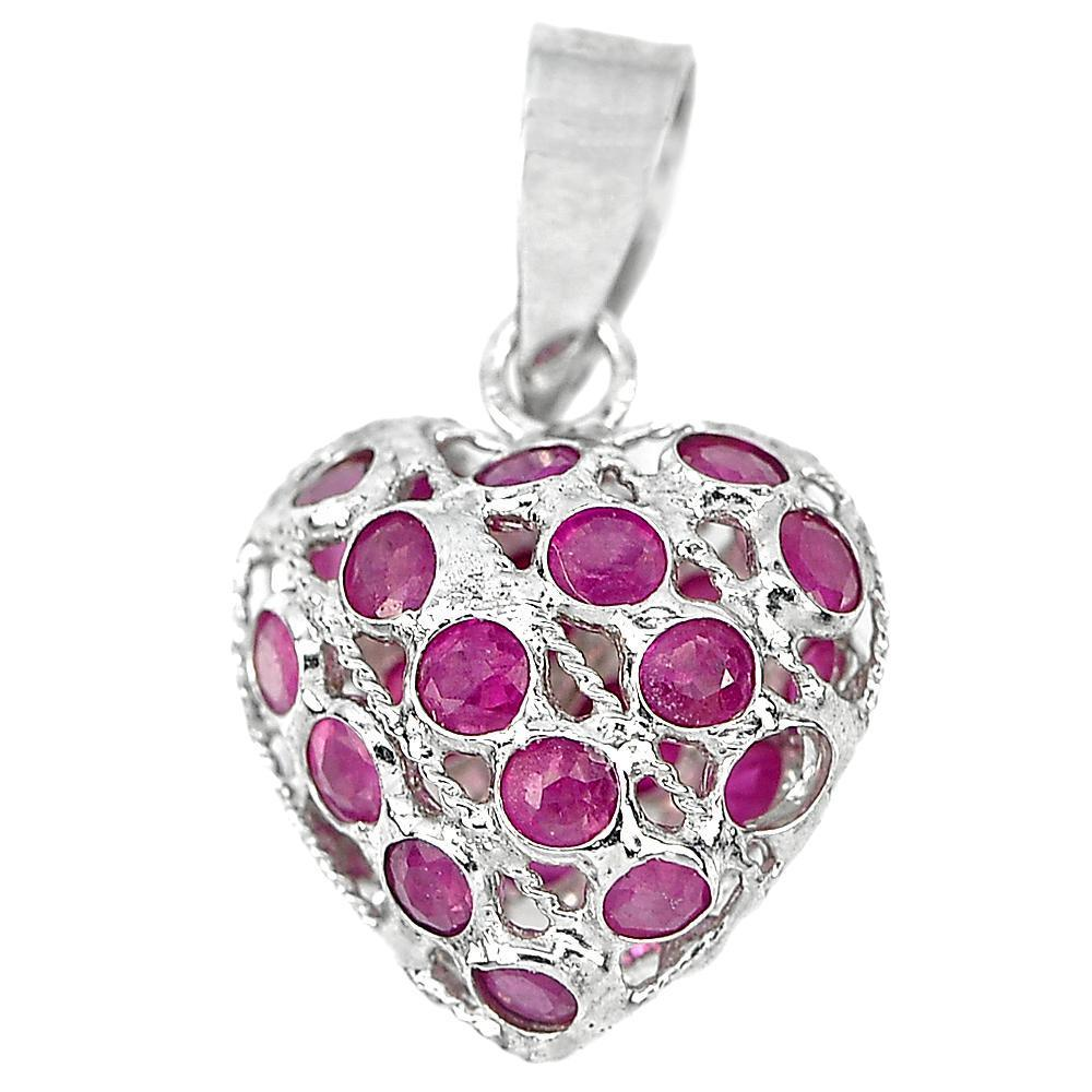 0.61 G. Good Natural Gemstone Red Ruby Real 925 Sterling Silver Jewelry Pendant