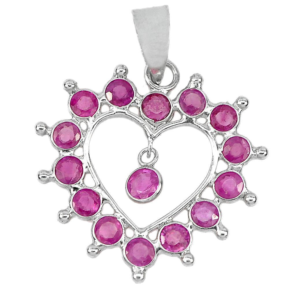 0.70 G. Real 925 Sterling Silver Jewelry Pendant Good Natural Gemstone Red Ruby