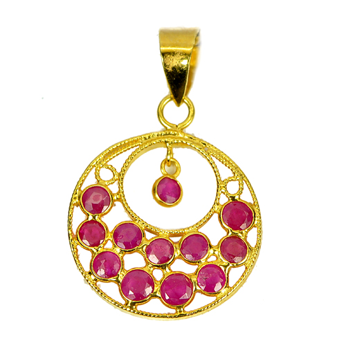 Round Purplish Pink Ruby 18K Solid Gold Jewelry Pendant