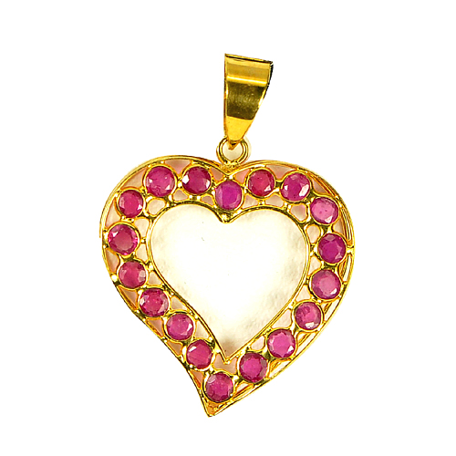 Natural Purplish Red Ruby Gem 18K Gold Jewelry Pendant