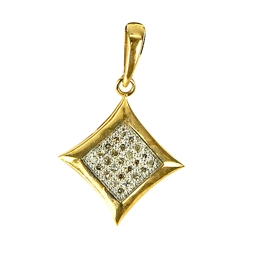 0.78 G. Natural White Diamond 10K Solid Gold Pendant