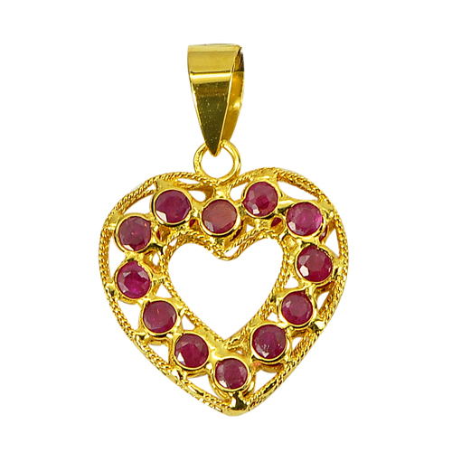 Charming Gems 18k Gold Jewelry Heart Pendant 1.04 Ct. Natural Purplish Red Ruby