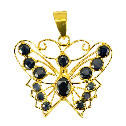 18k Gold Jewelry Pendant 1.10 Ct. Natural Blue Sapphire
