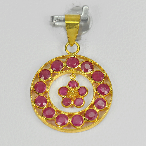 1.17 Ct. Natural Purplish Pink Ruby 18k Gold Jewelry Pendant
