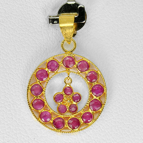 0.75 G. Natural Purplish Pink Ruby 18K Yellow Gold Jewelry Pendant