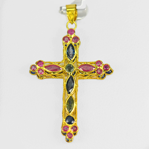 2.73 Ct. Natural Ruby And Sapphire 18k Gold Jewelry Cross Pendant
