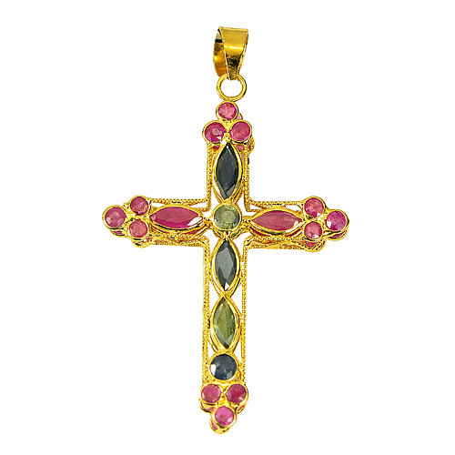 Nice Color 2.73 Ct. Natural Ruby And Sapphire 18k Gold Jewelry Cross Pendant