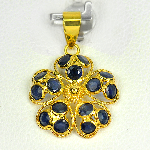 1.39 Ct. Natural Blue Sapphire 18k Gold Jewelry Pendant