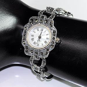 26.57 g. Natural Black Marcasite 925 Silver Jewelry Watch
