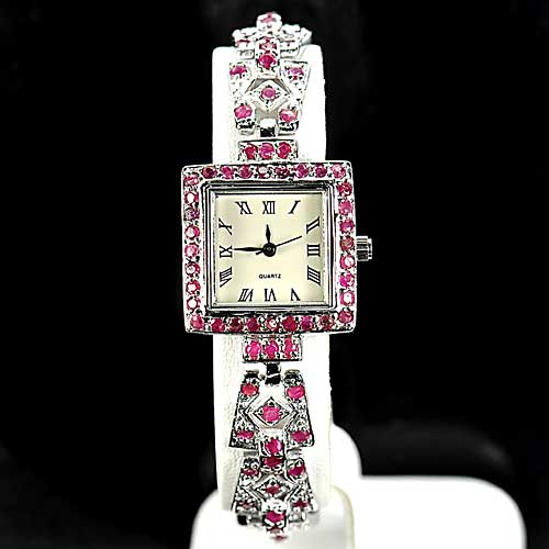 38.27 G. Natural Round Purplish Red Ruby Sterling Silver Jewelry Watch 8 Inch.