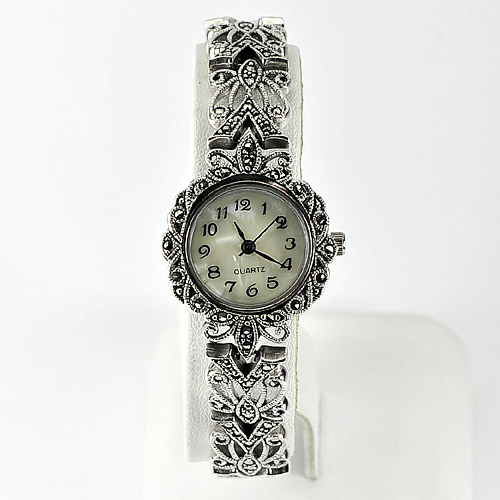 35.00 G. Natural Black Marcasite 925 Silver Jewelry Watch Lengh 8 Inch.