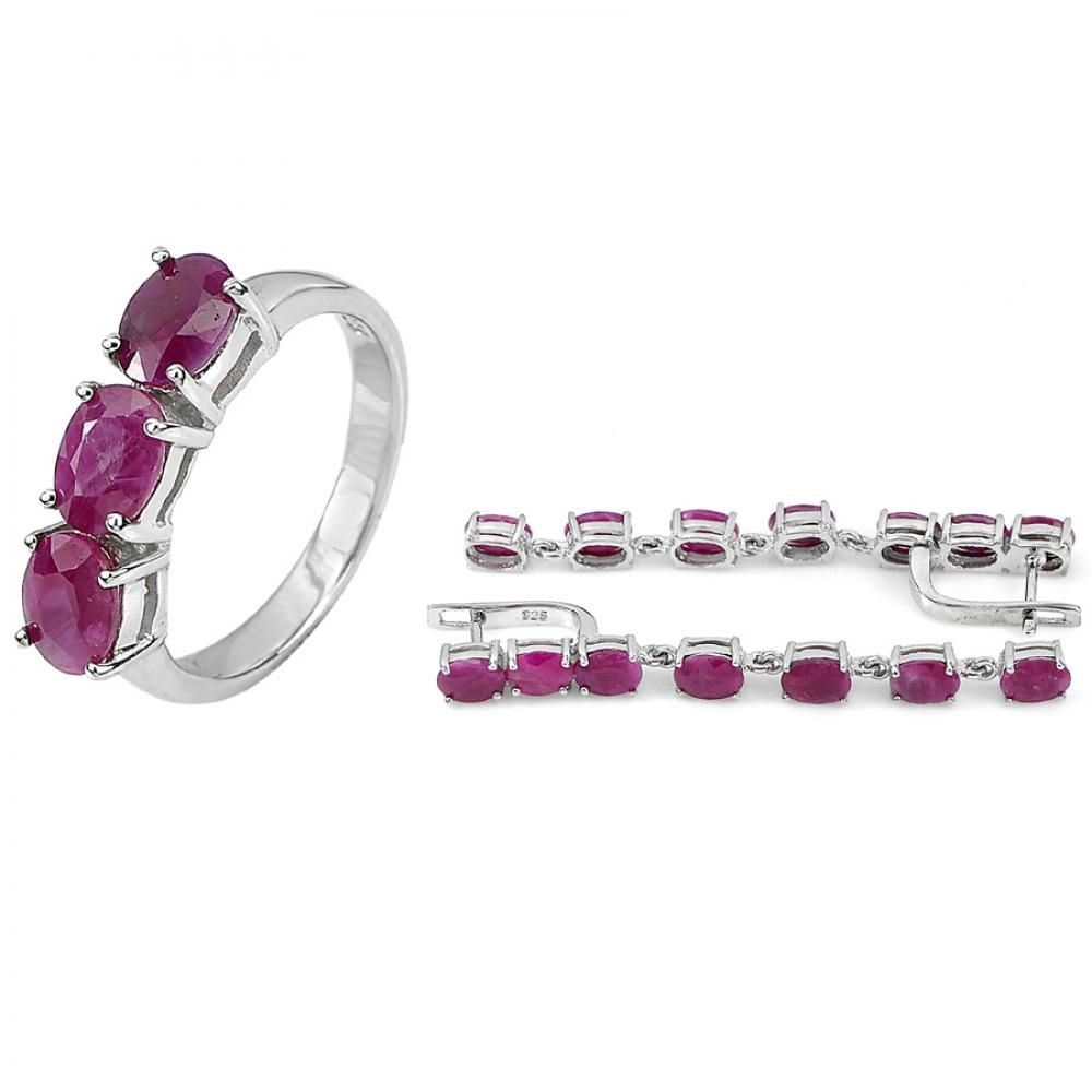 14.54 G. Real 925 Sterling Silver Ring And Earrings Natural Purplish Red Ruby