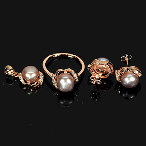 9.99 G. Natural Pearl Jewelry Set Silver Rose Gold Ring Earrings Pendant