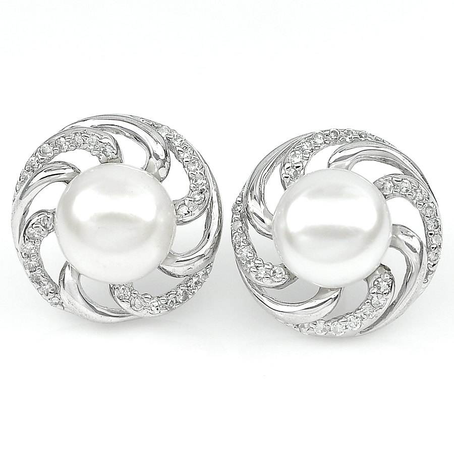 6.32 G. New Design Natural White Pearl Jewelry Sterling Silver Earring