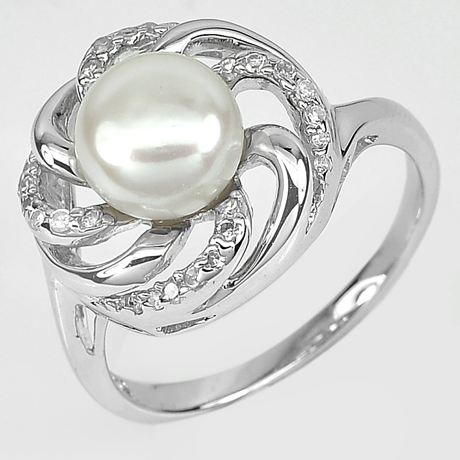 4.87 G. New Design Natural White Pearl Jewelry Sterling Silver Ring Size 8