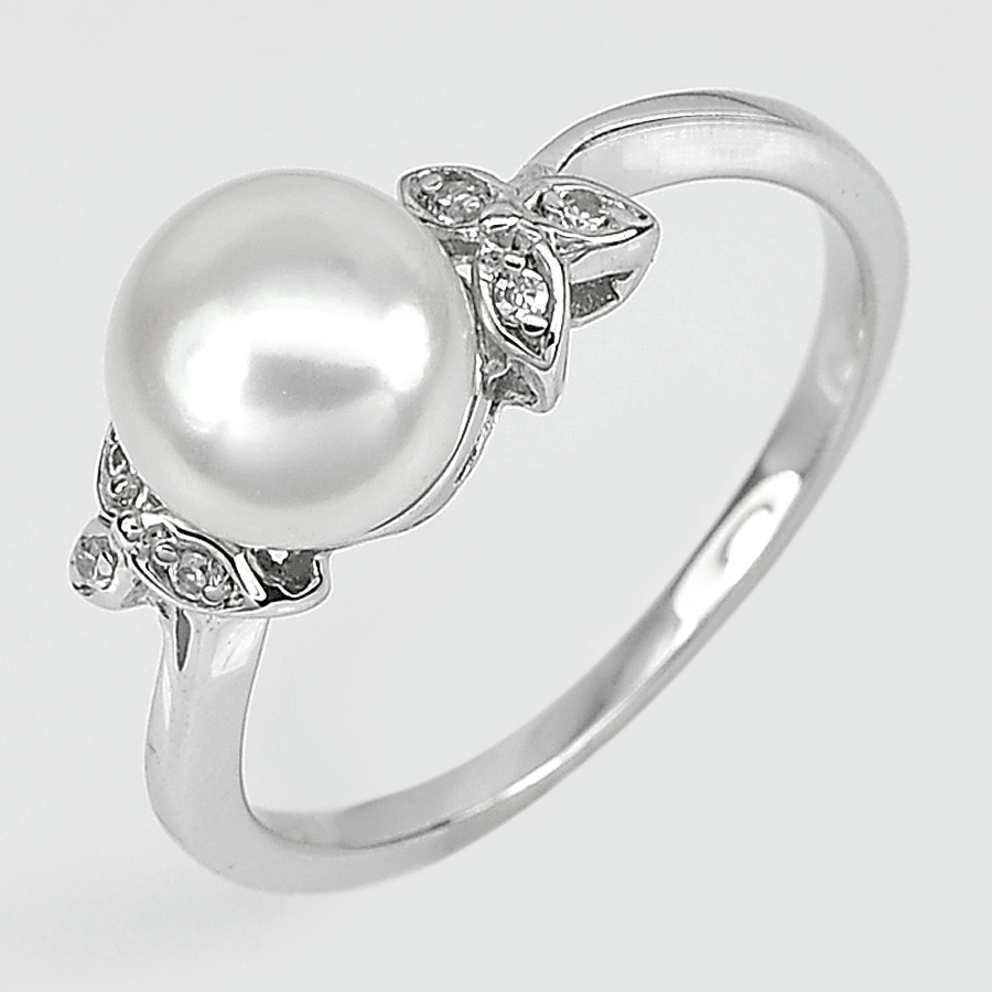3.23 G. Round Cabochon Natural White Pearl Real 925 Sterling Silver Ring Size 8