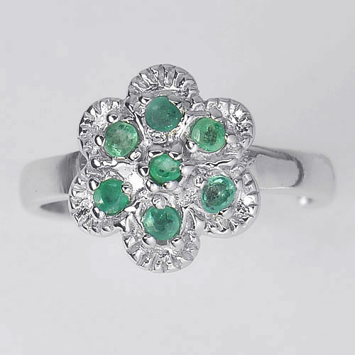 Charming Natural Emrald Gemstones 925 Silver Jewelry Rings Sz 8
